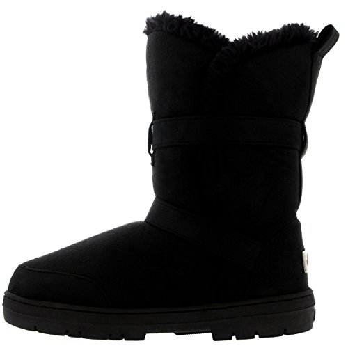 Mujer Twin Buckle Short Fur Lined Impermeable Invierno Rain Nieve Botas Negro