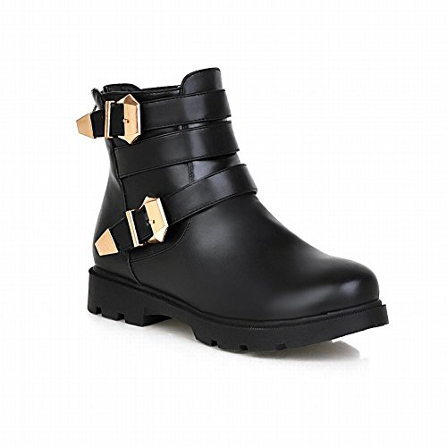 Heel Popular Multi Buckle Low Womens Boots Fashion Carolbar Comfort Short Black Zipper UI78q5x
