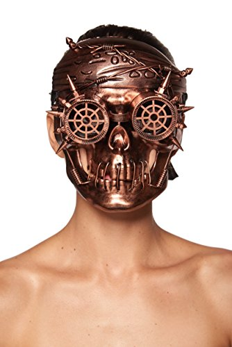 [Antiqued Bronze Steampunk Skull Mask with Goggles and Spikes (Unisex; One Size Fits Most)] (Spike The Rabbit Costume)