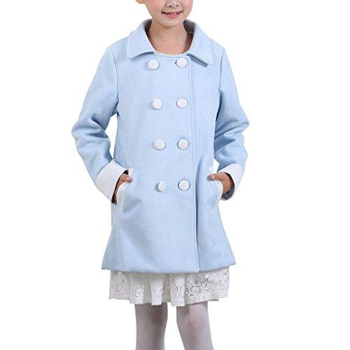 YISUMEI Big Girls Coats Thicker Wool Hooded Lace Double Breasted Blue (Double Breasted Hooded Wool)