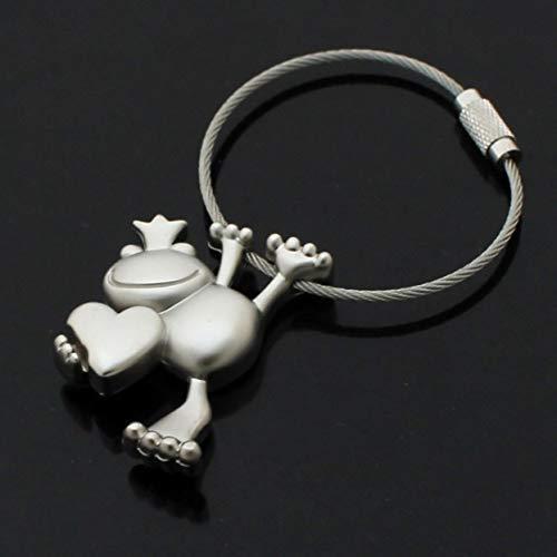 - 1 Set Frog Prince Wire Rope Keychains Pendant Girls Love Heart Wrist Wristlet Key Fob Top Level Popular Pocket Men Bag Car Keyring