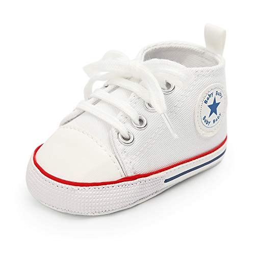 Mybbay Infant Baby Boy Girl Canvas Sneakers Soft Sole Anti-Slip Star High Top Newborn First Walker Shoes 3-18 Months (12-18 Months Infant, ()