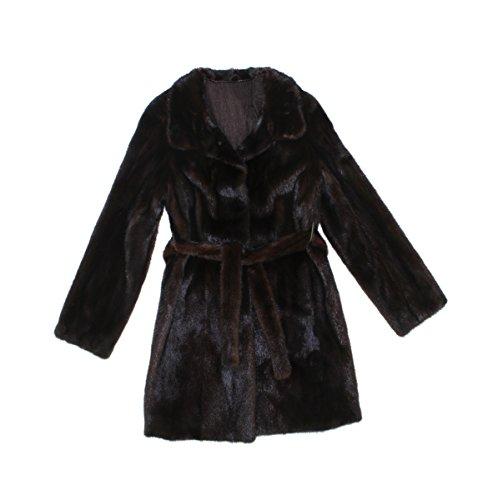 Bergama 611807 New Natural Mahogany Mink Fur Mid Length Stroller Coat Jacket (Mahogany Mink Fur Coat Jacket)
