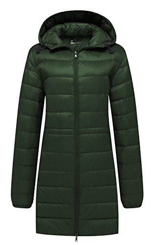 Wantdo Women's Puffy Down Jacket Warm Foldable Windproof Coat Blackish Green S