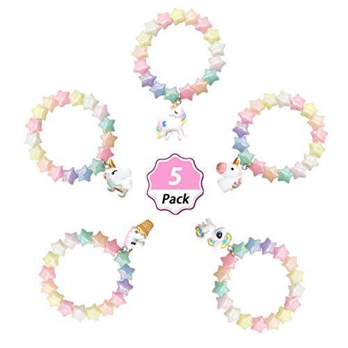 SUNOVELTIES Unicorn Party Favor Bracelet - Unicorn Pendant Star Beaded Bracelet for Birthday Gifts Bracelet (UB-5Pack-Star)]()