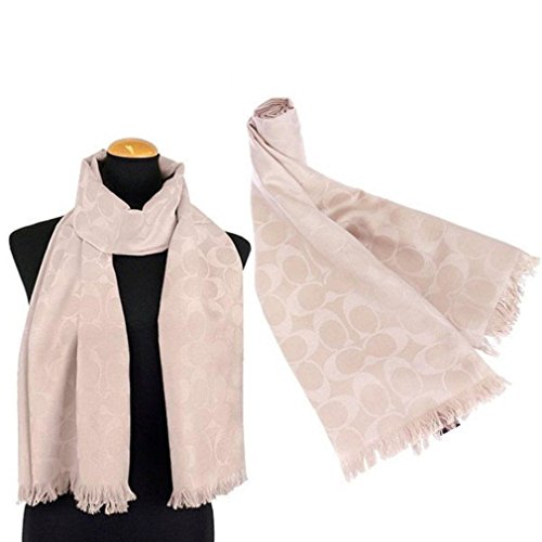 Coach Women's Signature C Wrap Scarf Wool & Silk - Beige / Oatmeal by Coach