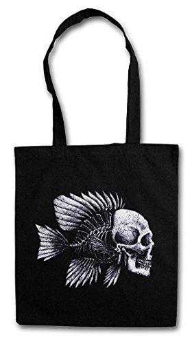 FISH SKULL Hipster Shopping Cotton Bag Cestas Bolsos Bolsas de la compra reutilizables