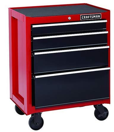 Craftsman 26-Inch 4-Drawer Rolling Cabinet - Red 26 Inch Steel Tool Box