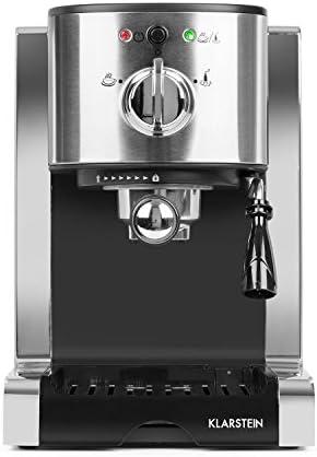 Klarstein Passionata 20 - Machine à espresso, Puissance de 1.350 Watt, Élégante, Pression de 20 bar, Design stylé, Buse à vapeur, Réservoir d'eau 1,25 litres, Argent