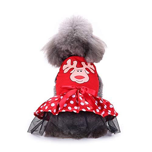 Pet Clothes Christmas, Puppy Dog Cat Fashion Princess Dress Elk Print Bowknots Outfits (S,Red) -