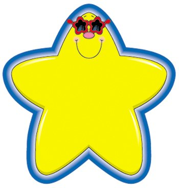 Carson-Dellosa Publishing Products - Star Cutouts, 5-1/4amp;quot;x5-1/4amp;quot;, 36 Pieces, Yellow/Blue - Sold as 1 EA - Star cutouts are die-cut shapes to decorate your bulletin board or classroom. Printed on heavy card stock. Ideal as locker tags, game pieces, name plates and rewards.
