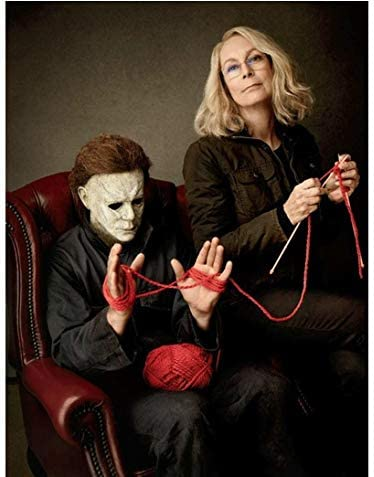 Michael Versus Laurie Halloween 2020 Halloween Jamie Lee Curtis as Laurie Strode knitting with Michael