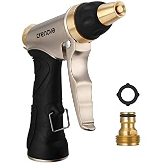 Crenova Hose Nozzle, Spray Nozzle High Pressure Water Gun with Easy Flow Control Setting and Ergonomic Trigger for Plant Watering, Deck or Sidewalk Cleaning