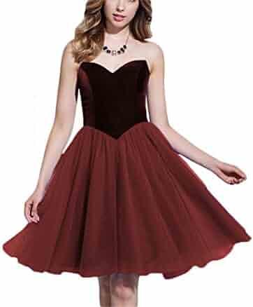 e451e87f1a3e FTBY Women's Sweetheart Velvet Tulle Short Prom Homecoming Dresses  Bridemaid Dresses 180