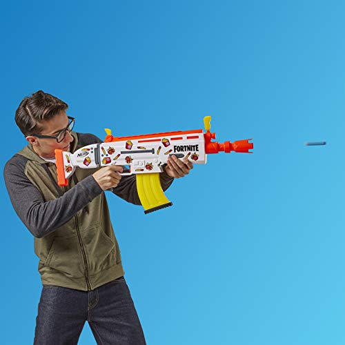 416gxKlth3L - NERF Fortnite AR-Durrr Burger Motorized Blaster -- Customizing Stickers, 20 Darts, 10-Dart Clip -- for Youth, Teens, Adults (Amazon Exclusive)