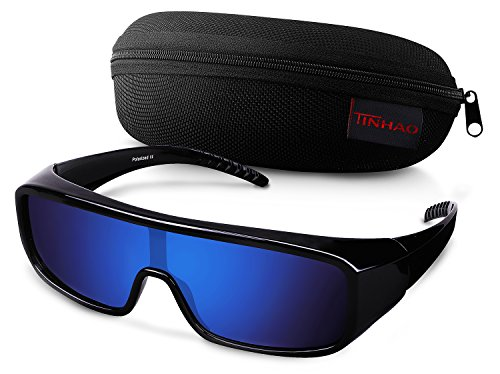 TINHAO Polarized Fit Over Sunglasses One Piece Shield with Mirrored Lenses