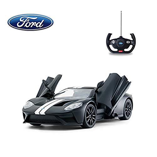 - 1/14 Scale Ford GT RC Car Licensed Radio Remote Control RTR Sports Car Model Gift Toys for Kids, Open Doors, Matte Black