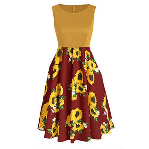 (Fitfulvan Women's Short Sleeve Bow Knot Bandage Tops Sunflower Print Mini Skirt Suits Patchwork Zipper Swing Dress Red)