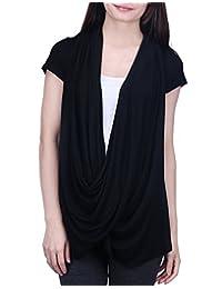 HDE Womens Short Sleeve Nursing Top Criss Cross Lightweight Breastfeeding Shirt (Black, Medium)