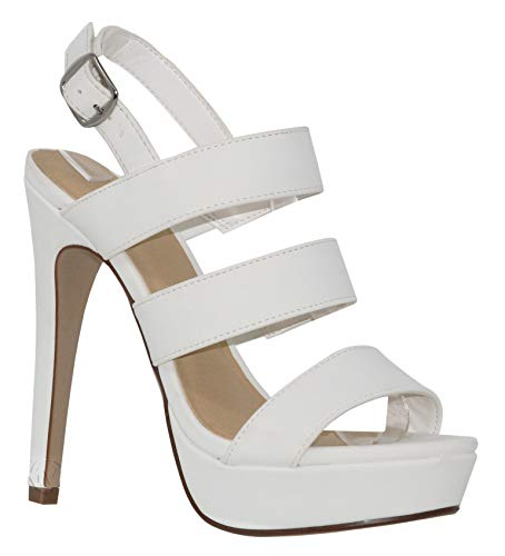 MVE shoes Women's Open Toe Strappy High Heel Sandals, Calm White PU 8 ()