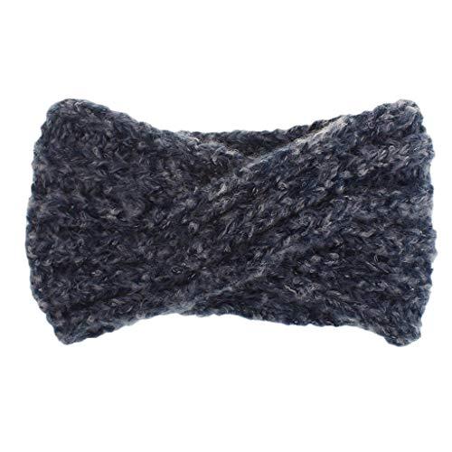 Warm HeadbandFutemo Crochet Headband Winter Cross Braided Earmuff Warmer Head Thick Stretch Wrap