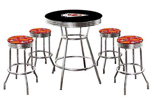 "- 5 Piece Black Pub/Bar Table Set with 4 – 29"" Swivel Stools Featuring Your Favorite Football Team Logo Fabric Covered Seat Cushions! (Chiefs)"