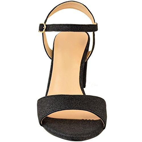 Basso Matrimonio nero glitter Taglie Fashion Thirsty Tacco Paillettes Largo Scarpe Sandali e Nuziale heelberry Donne da Festa 1aIqaOZ