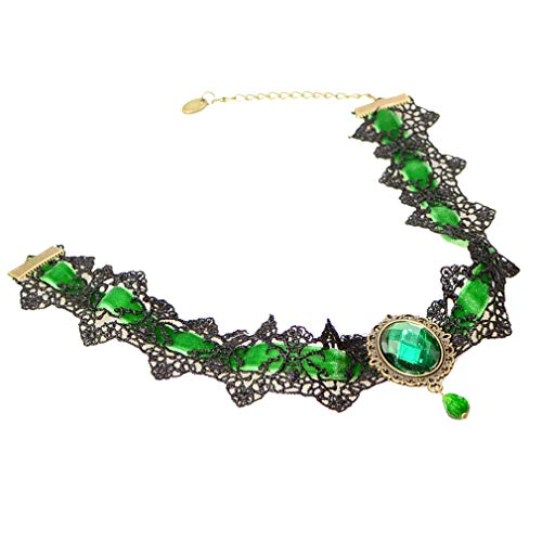 Dolland Women Vintage Lace Gem Necklace Gothic Natural Stone Pendant Collar Short Clavicle Necklace,Green