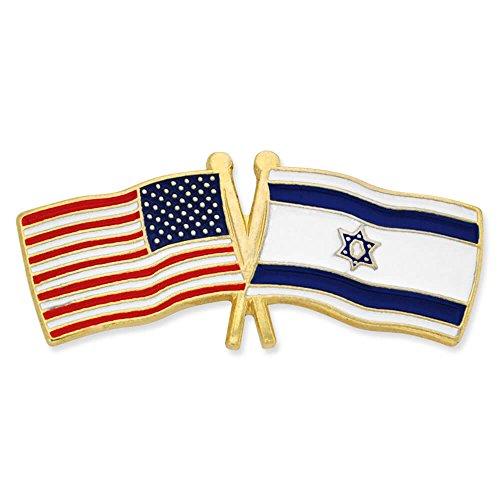 (PinMart USA and Israel Crossed Friendship Flag Enamel Lapel Pin)