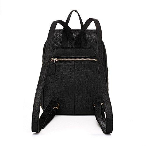 Femme PU à Sac Loisirs Gland Simple Zipper ZHXUANXUAN Black Multifonction Dos Classique Couleur RYAfwnBqd