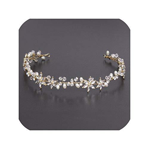 Crystal Bridal Wedding Head Piece Bride Headwear Headband Hair Band 100% Handmade Flower Women Party Jewelry Accessories,As Picture Gold ()