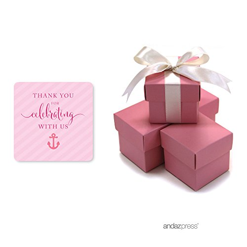 Andaz Press Pink Girl Nautical Baby Shower Collection, Favor Box DIY Party Favors Kit, Thank You for Celebrating With Us!, 20-Pack (Favor Box Template)