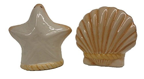 Chesapeake Bay Ceramic Seashell and Starfish Design Salt & Pepper Set 65038 2.875 Inches x 2.75 Inches