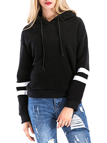 St. Jubileens Women Hoodie Sweatshirt Long Sleeve Simple Style Casual Pullover Tops Black L (Hoodie Sweatshirt Jumper)
