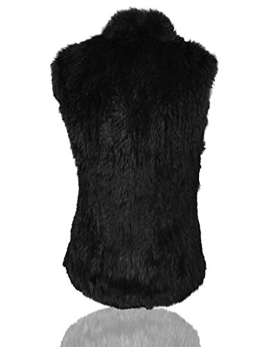 conejo de Negro gruesa punto caliente Uilor® chaleco natural mujer de Piel TOExqZPS