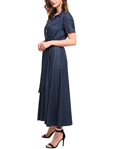 ACEVOG Blue Collar with Women Vintage Clear Style Belt Swing Maxi Short Turn Down Waist Dress Sleeve High rarxgqX