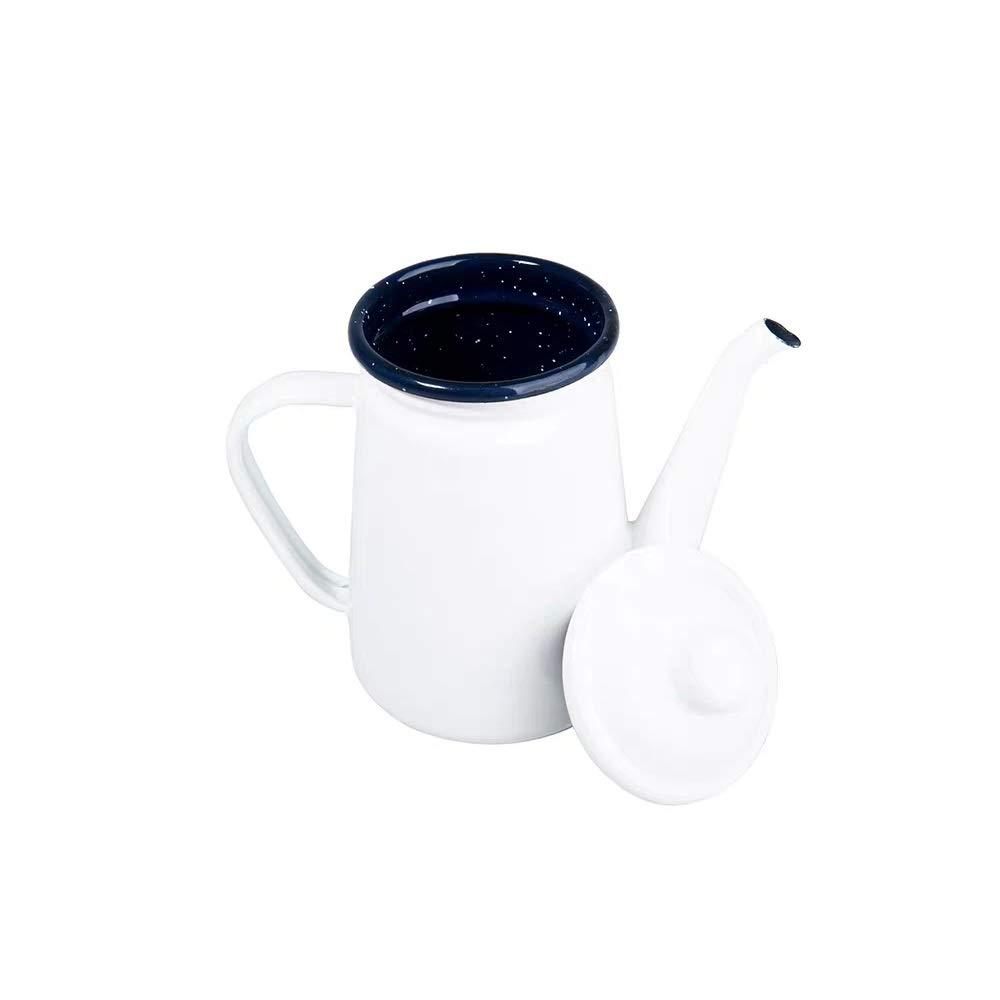 Camping Outdoors Coffee Pot 1.1L, SHUEHO Hand Drip Enamel Tea Coffee Pot Kettle Boiler Oil & Vinegar Cruet (White 1.1L) by YumCute Home