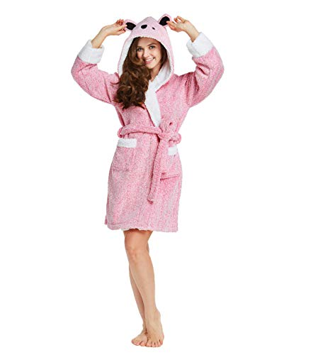 TIMSOPHIA Robes for Women Bathrobe with Hood SPA Robes Fun Robes for Women (PINK2, Large)