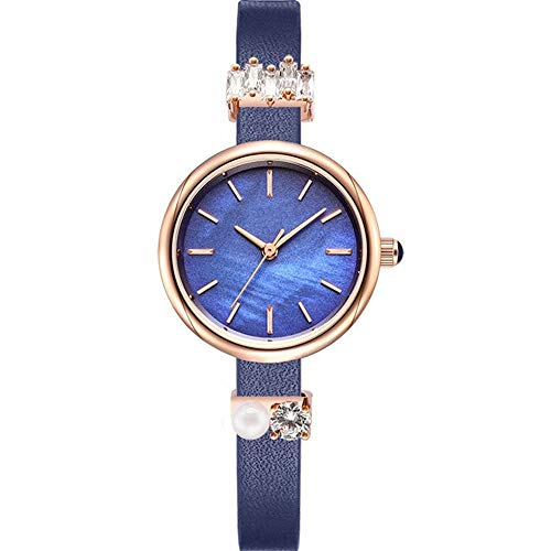 ETH Red Purple Blue Woman Girl Lady Student Diamond Rhinestone Pearl Ultra-Thin Quartz Watch Leather Strap Fashion Waterproof 3ATM Decoration Bracelet Watch (Color : Blue)