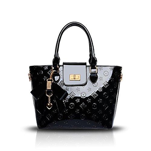 Black Bag Tisdaini Capacity PU Embossed Patent Handbag Messenger Large Shoulder Leather Women's 6R6rqPwxHv