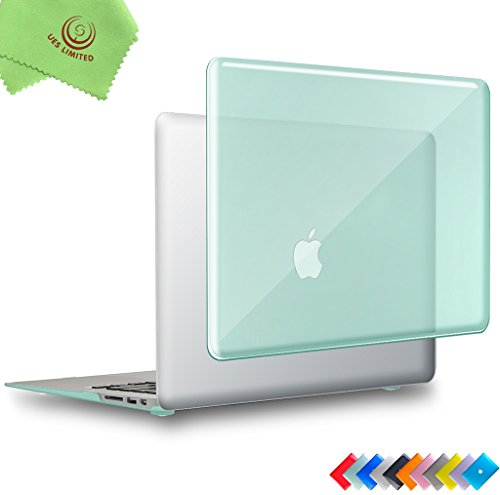 UESWILL Glossy Crystal Clear See Through Hard Shell Case Cover for MacBook Air 13 inch (Model: A1466/A1369) + Microfibre Cleaning Cloth, Green