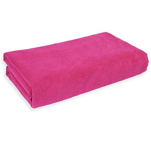 Belmalia Mikrofaser Badetuch XXL, sehr saugfähig, 180 x 75 cm, Strandtuch Badetuch Sauna Microfaser Tuch pink