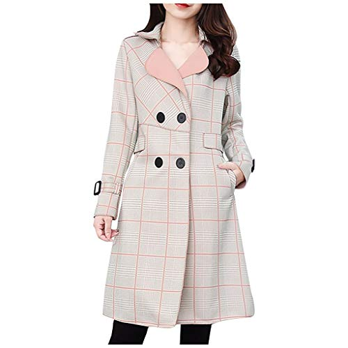 Spring Color  Womens Casual Plaid Print Long Sleeve Double-Breasted Pea Coat Wool Trench Jacket Cardigans Outwear Pink