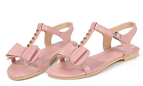 Aisun Women's New Bow Ankle Strap Flat Comfy Sandals Pink JWzM2H
