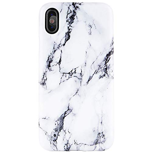 iPhone X Case, iPhone Xs Case,Black and White Marble Design, DICHEER Clear Bumper Glossy TPU Soft Rubber Silicone Cover Phone Case for iPhone X/iPhone Xs [5.8 inch]