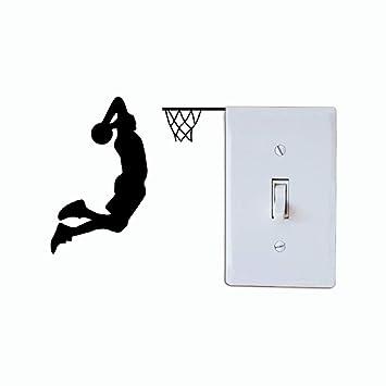 Shuzhen,Jugador de Baloncesto Dunk Silueta Interruptor de luz Etiqueta de Dibujos Animados Deporte Vinilo decoración de la Pared(Color:Negro,Size:11 x 12 ...