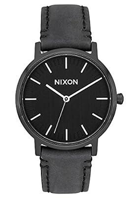 Nixon Men's 'Porter 35 Leather' Quartz Stainless Steel Casual Watch, Color:Black (Model: A11992345)