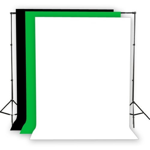 Fancierstudio 2400 watt lighting kit softbox light kit video lighting kit with Background stand 6'x9' Black, White and Chromakey green backdrop by Fancierstudio UL9004S3 6x9BWG by Fancierstudio (Image #1)