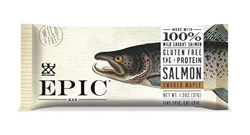Epic All Natural Meat Bar, 100% Wild Caught, Salmon & Smoked Maple, 1.5 ounce bar, 12 count