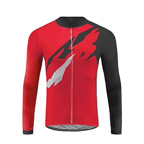 Uglyfrog Long Sleeve Cycling Jersey Men with 3 Pockets,Breathable Quick Dry Bike Jersey,High Elastic Anti Wrinkle Breathable Reflective Road Mountain Bike Shirts (Tri Kit Herren)
